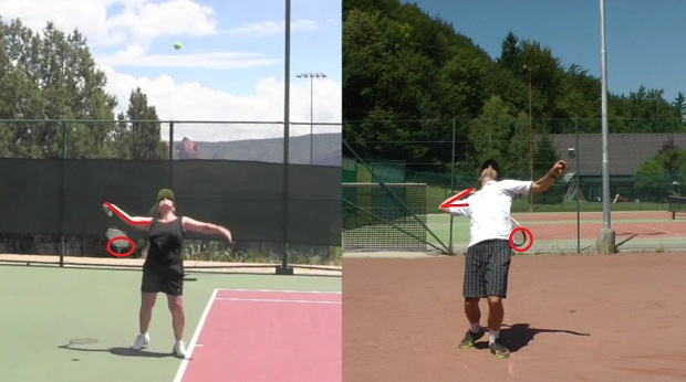 The position of the elbow in a tennis serve
