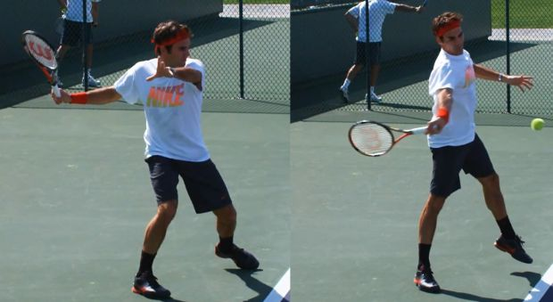 Legs extending in the open stance forehand