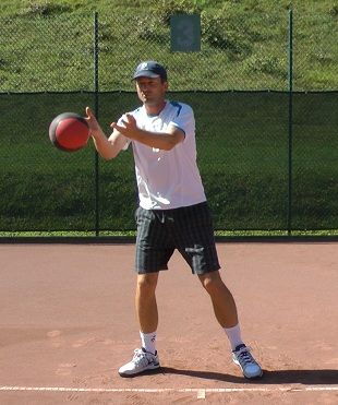 Tennis training with medicine ball