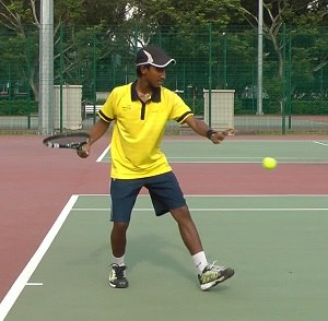 Tennis forehand contact point