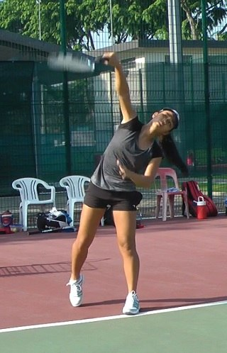 tennis serve head position