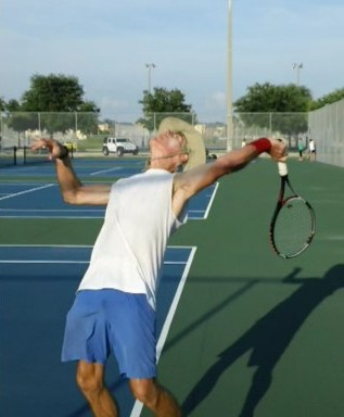 shallow racquet drop on serve