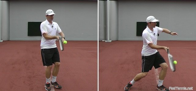 forehand with and without weight transfer