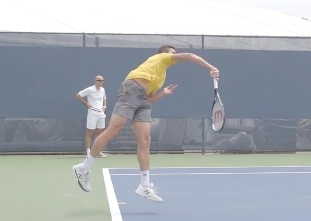 serve with a high elbow