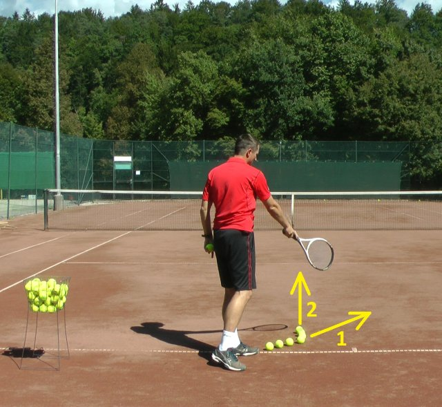 Two swing paths of a tennis serve