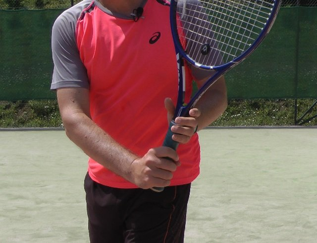 forehand to two-handed backhand grip change