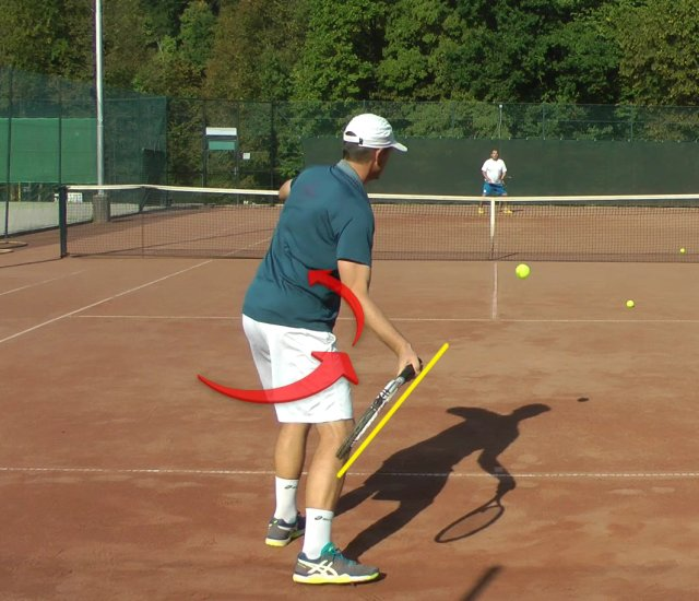 forehand acceleration with hip rotation